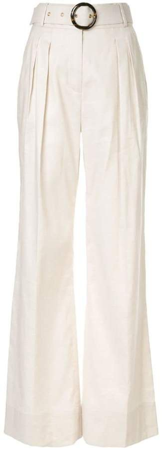 Taylor belted flared trousers