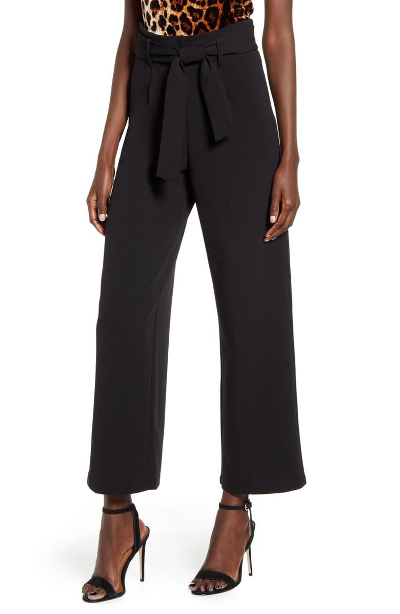 Leith High Waist Belted Pants | Nordstrom