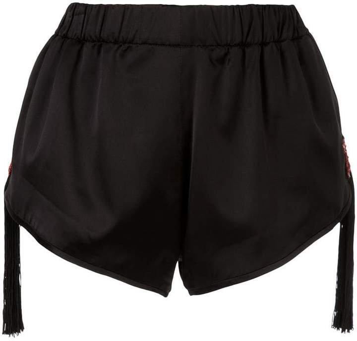 beaded fringed star shorts