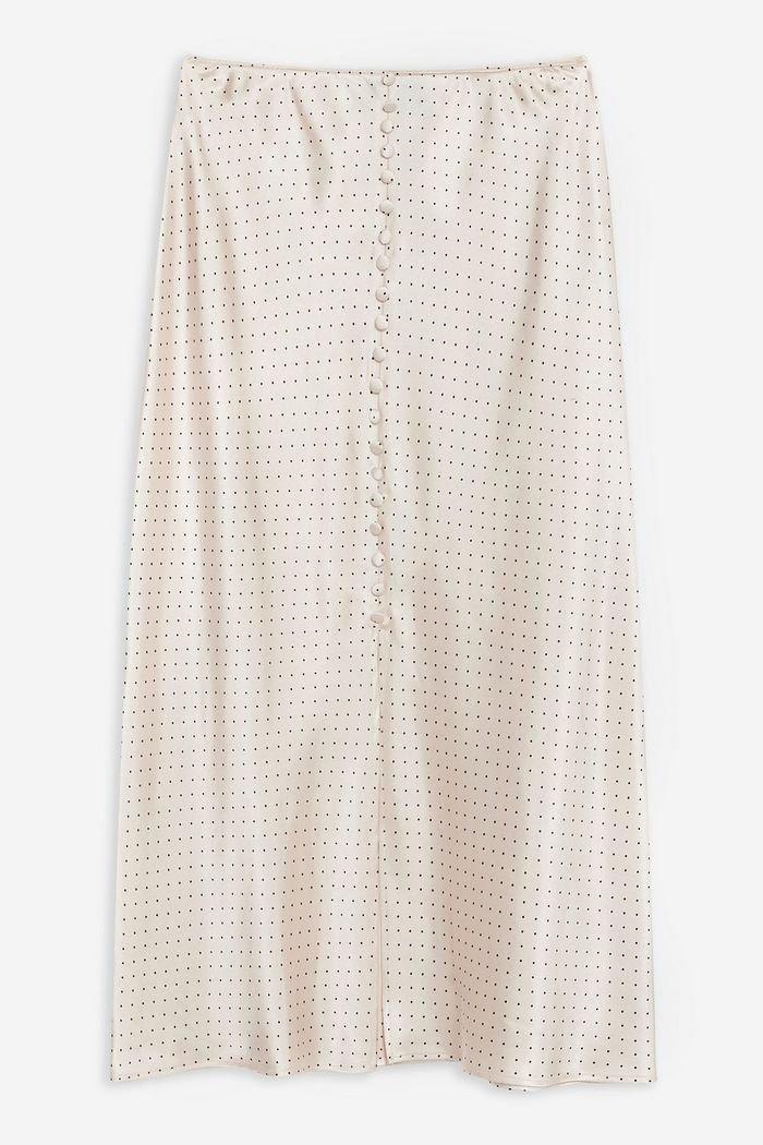 Spot Button Satin Bias Skirt | Topshop nude