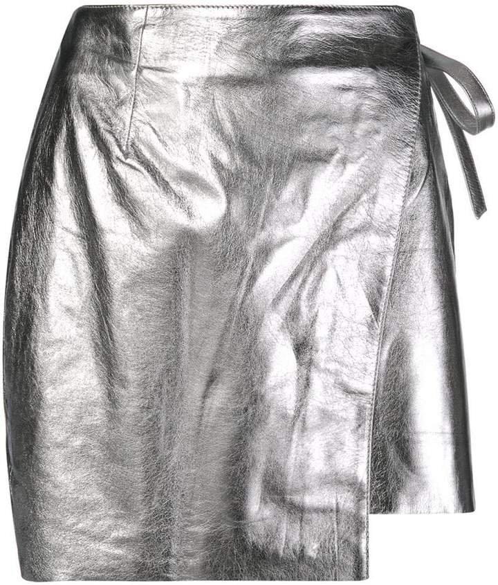 metallic-effect wrap-front skirt