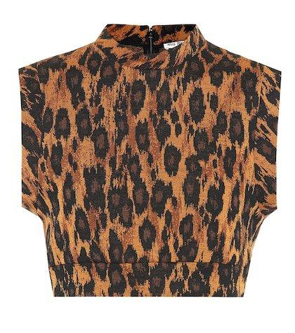 Leopard-printed wool-blend crop top