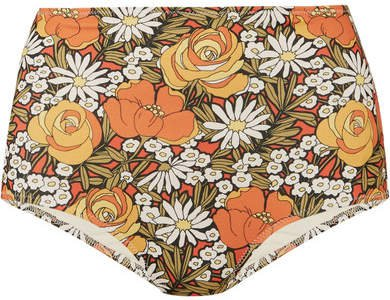 Floral-print Bikini Briefs - Orange