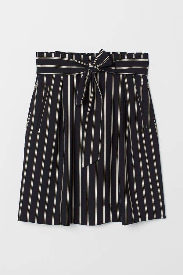 Skirt with Tie Belt - White