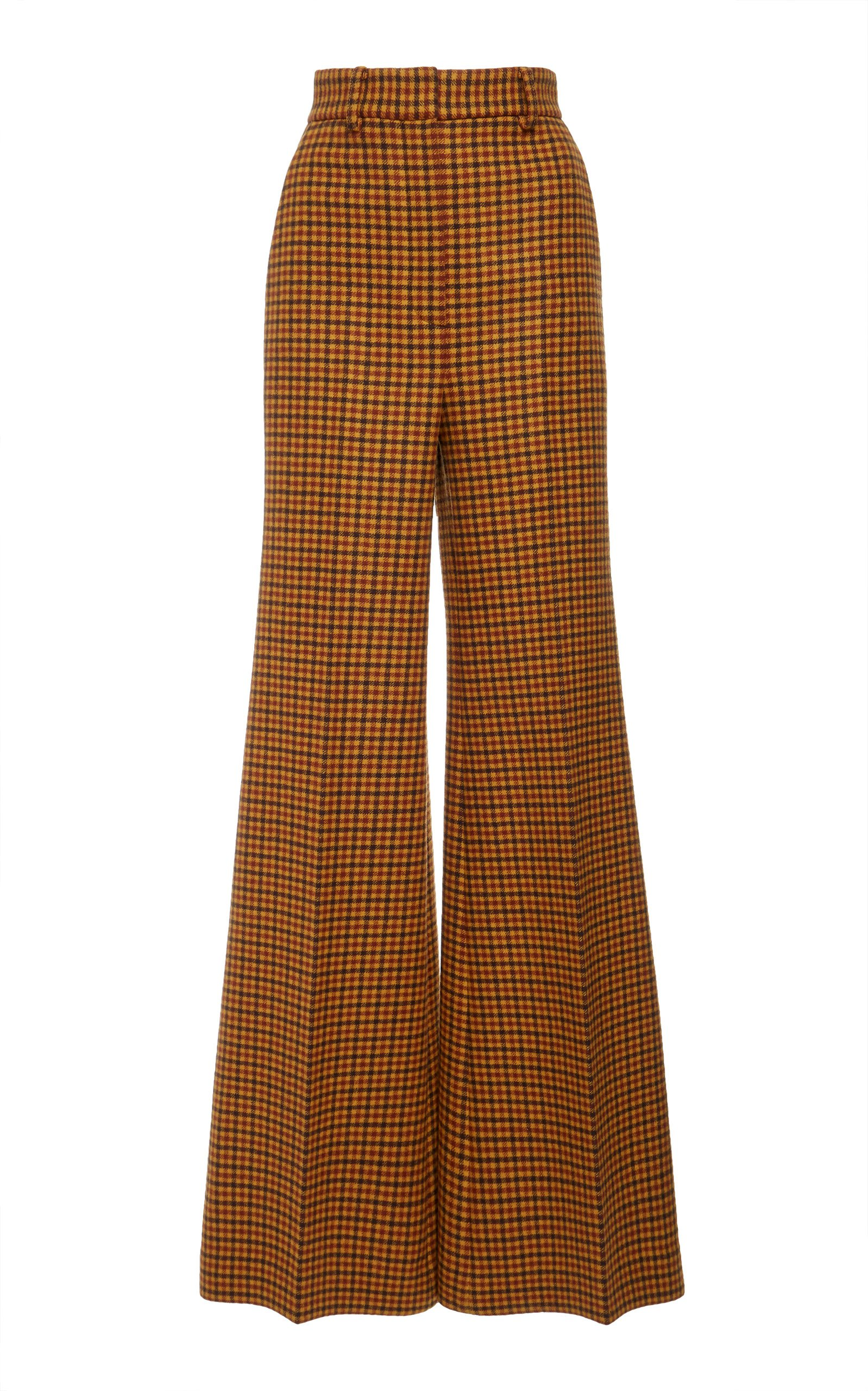 Bernadette Checked Wool Wide-Leg Pants by Khaite | Moda Operandi