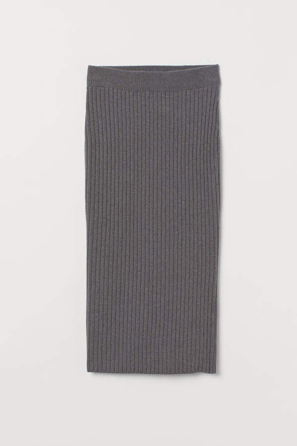 Fine-knit Cashmere-blend Skirt - Gray