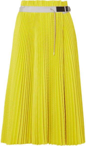 Pleated Mesh Wrap Midi Skirt - Yellow