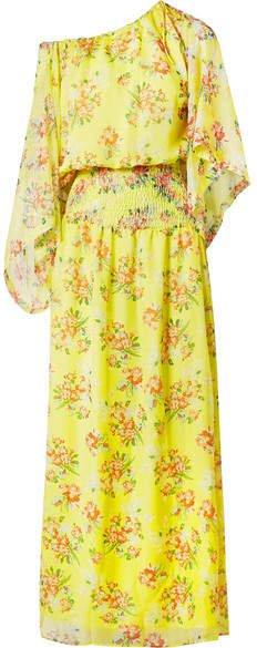 Eywasouls Malibu - Evelyn Floral-print Chiffon Maxi Dress - Yellow