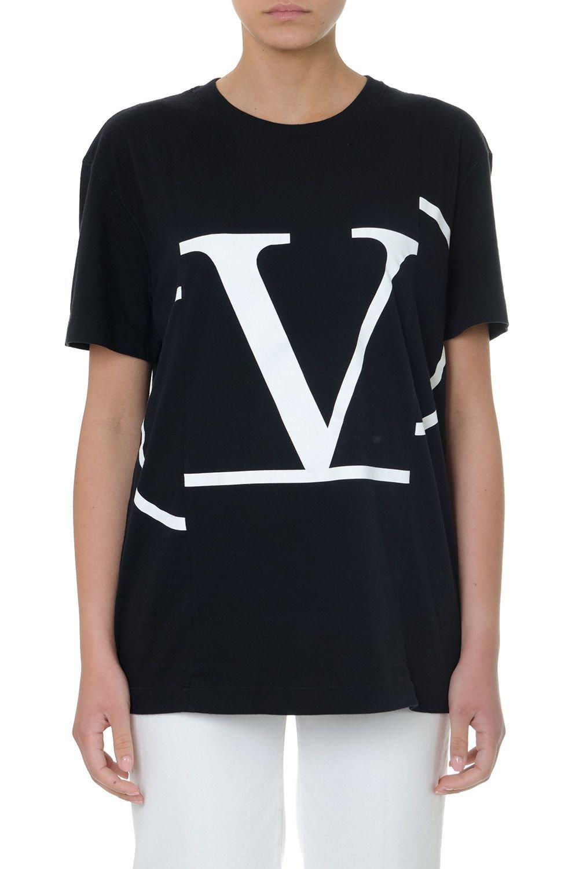 Valentino Black Cotton V Logo T-shirt