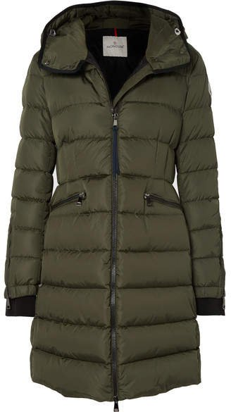Hooded Quilted Shell Down Jacket - Army green