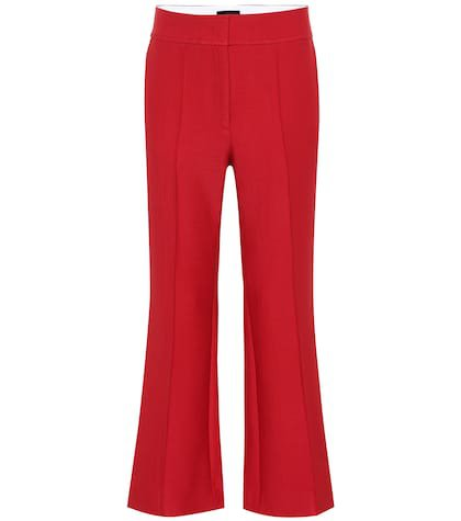 Wool-blend high-rise flared pants