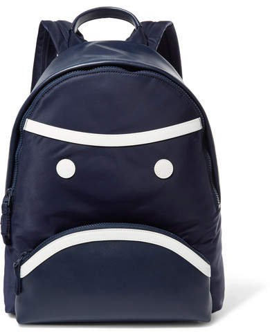 Grumps Appliquéd Leather And Shell Backpack - Navy