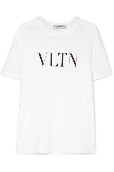 Valentino   Printed cotton-jersey T-shirt   NET-A-PORTER.COM