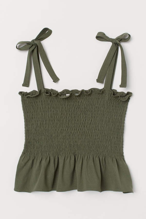 Camisole Top with Smocking - Green