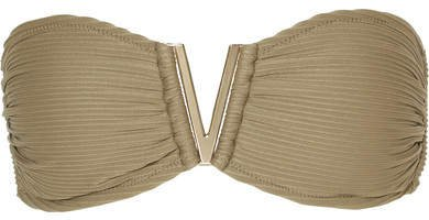 Ribbed Bandeau Bikini Top - Army green
