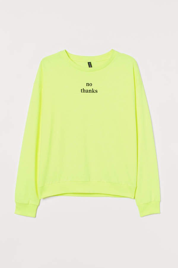 H&M+ Printed Sweatshirt - Yellow