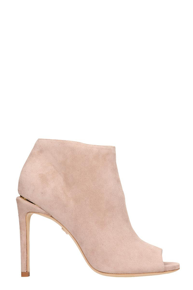 Lola Cruz Open Toe Pink Suede Ankle Boots