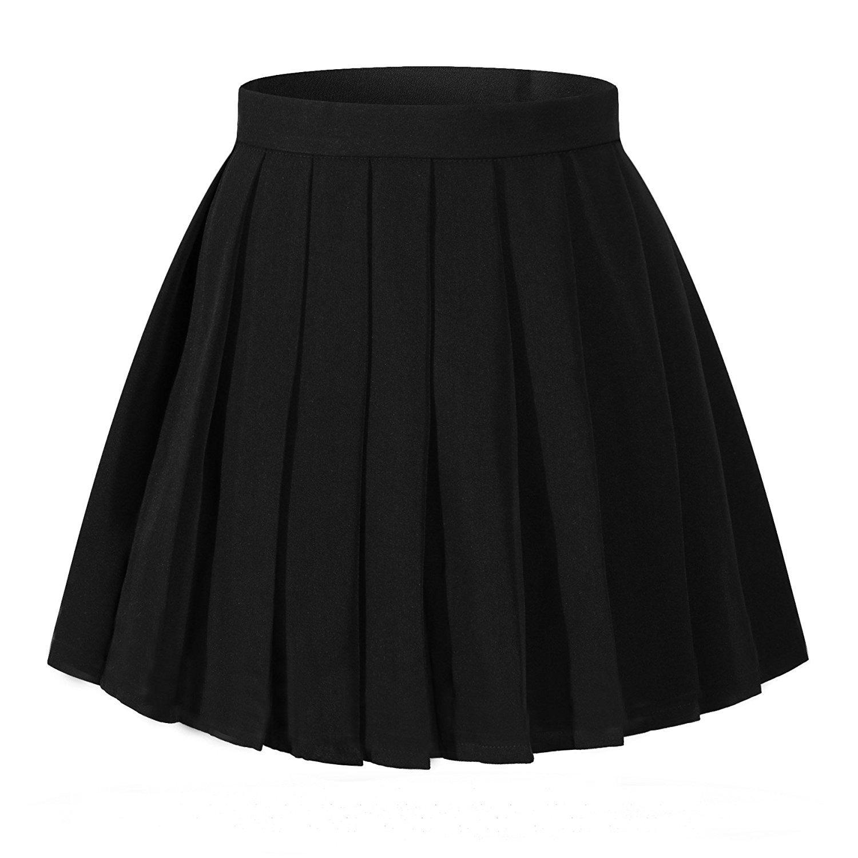 High Waisted Pleated Skirt - Black
