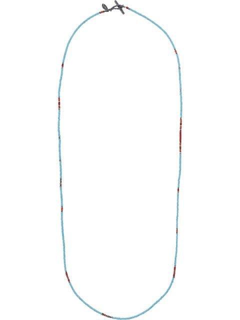 M. Cohen blue bead embellished silver necklace