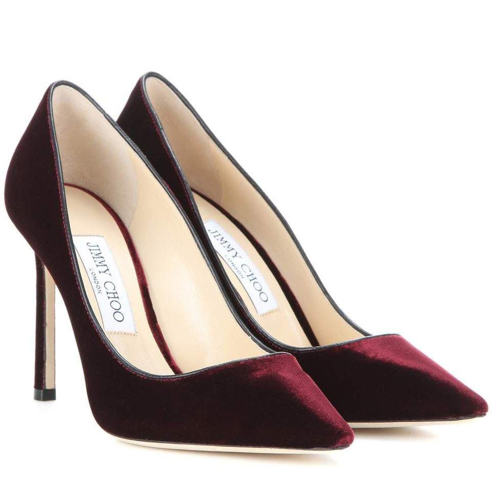 Jimmy Choo Romy 100 Burgundy Velvet Pumps - Kate Middleton Shoes - Kate's Closet