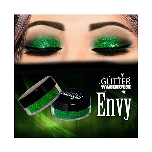 Envy Green Glitter Powder Great for Eyeshadow / Eye Shadow, Makeup, Body Tattoo, Nail Art and More!