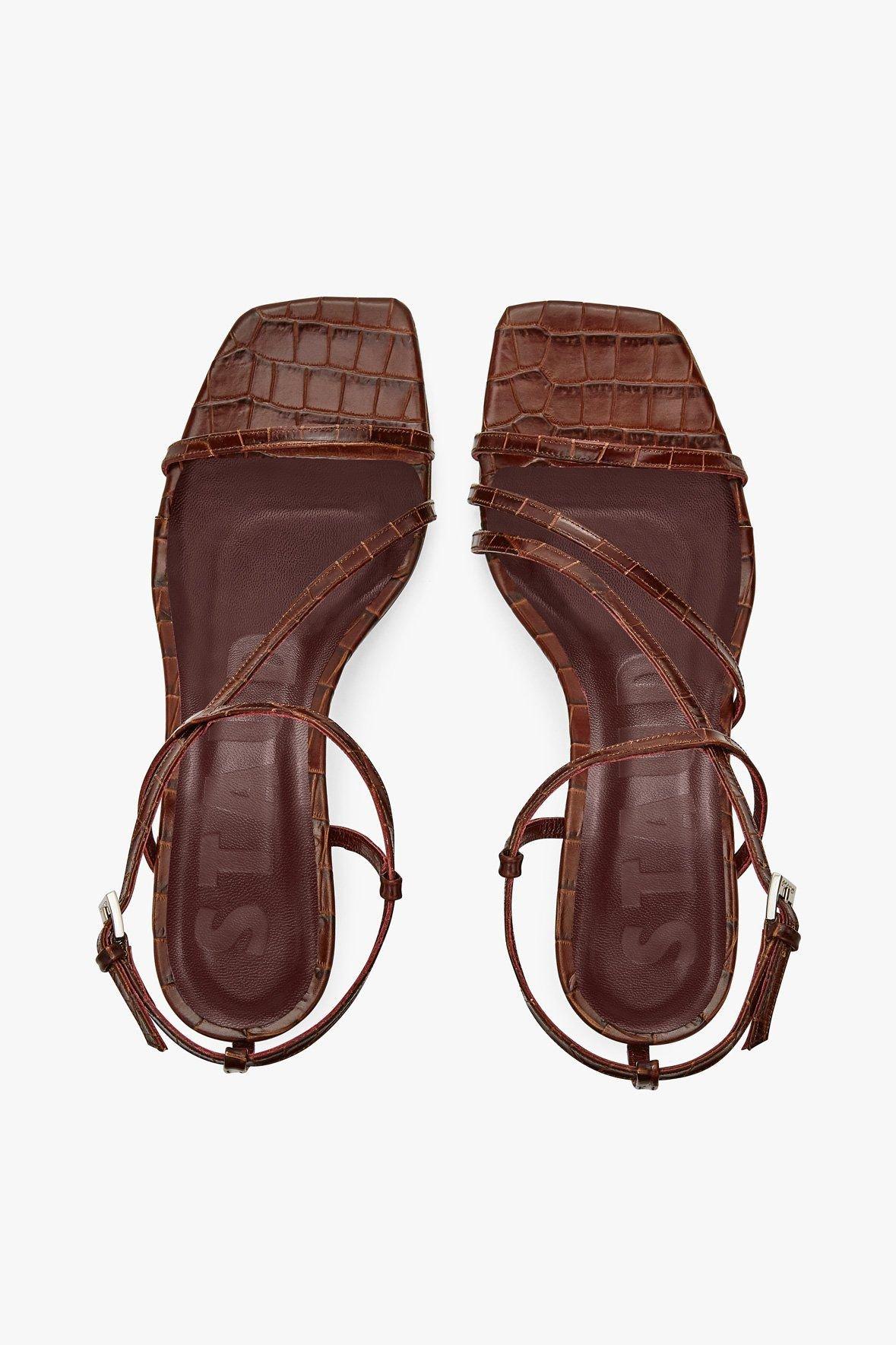 STAUD Shoes | GITA SANDAL | BROWN CROC EMBOSSED