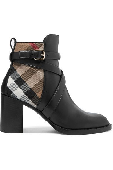 Burberry   Leather and checked canvas ankle boots   NET-A-PORTER.COM