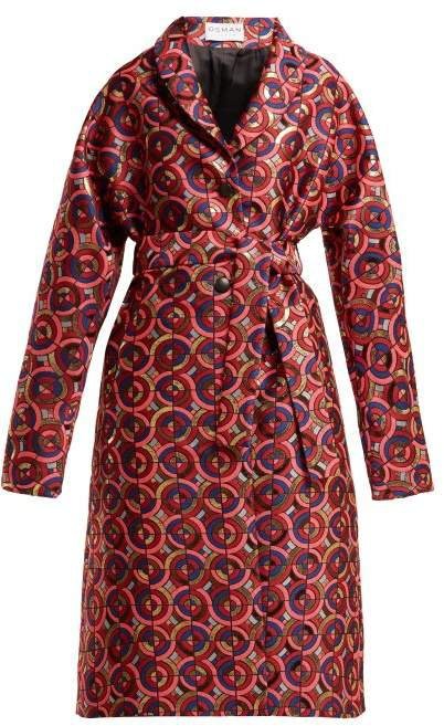 Margeaux Single Breasted Geometric Jacquard Coat - Womens - Pink Multi
