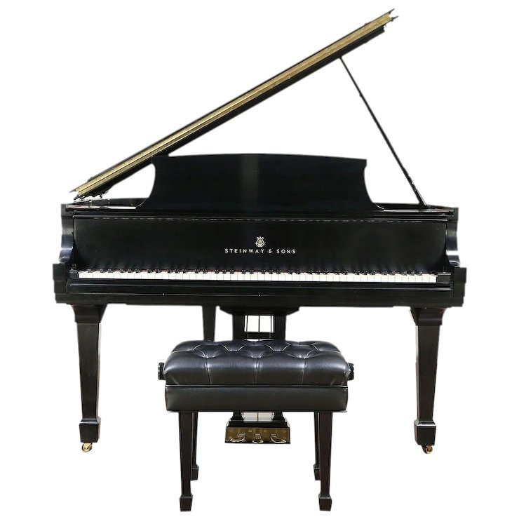 Steinway 1963 Model S Ebony Vintage Grand Piano, Professional Bench : Harp Gallery Antique Furniture   Ruby Lane