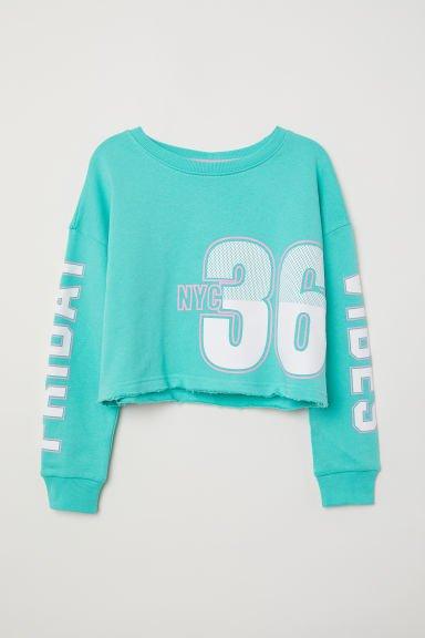 Sweatshirt with Printed Design - Light green/NYC - Kids | H&M US