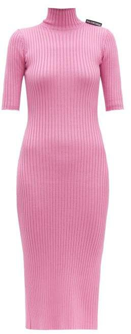 Stretch Knit High Neck Dress - Womens - Pink