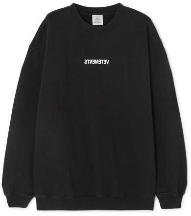 Printed Cotton-jersey Sweatshirt - Black