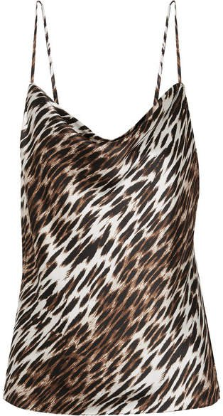 Kay Draped Leopard-print Silk-georgette Camisole - Brown