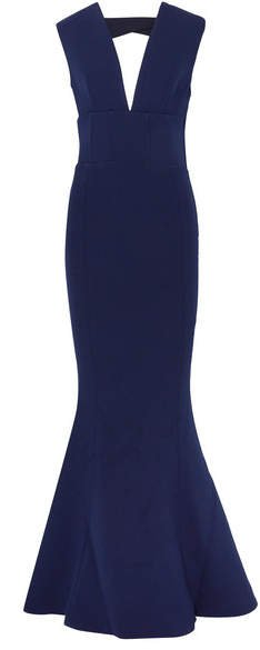 Mimosa Cutout Stretch-crepe Gown - Navy
