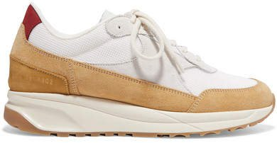 Track Suede And Mesh Sneakers - Beige