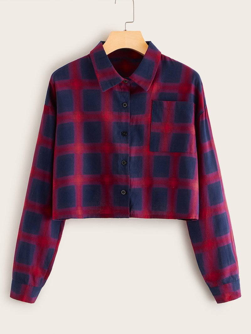 Drop Shoulder Plaid Button Front Blouse | ROMWE