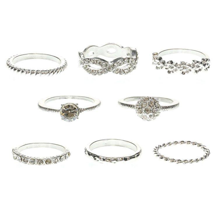 8 Pack of Silver Infinity Rings