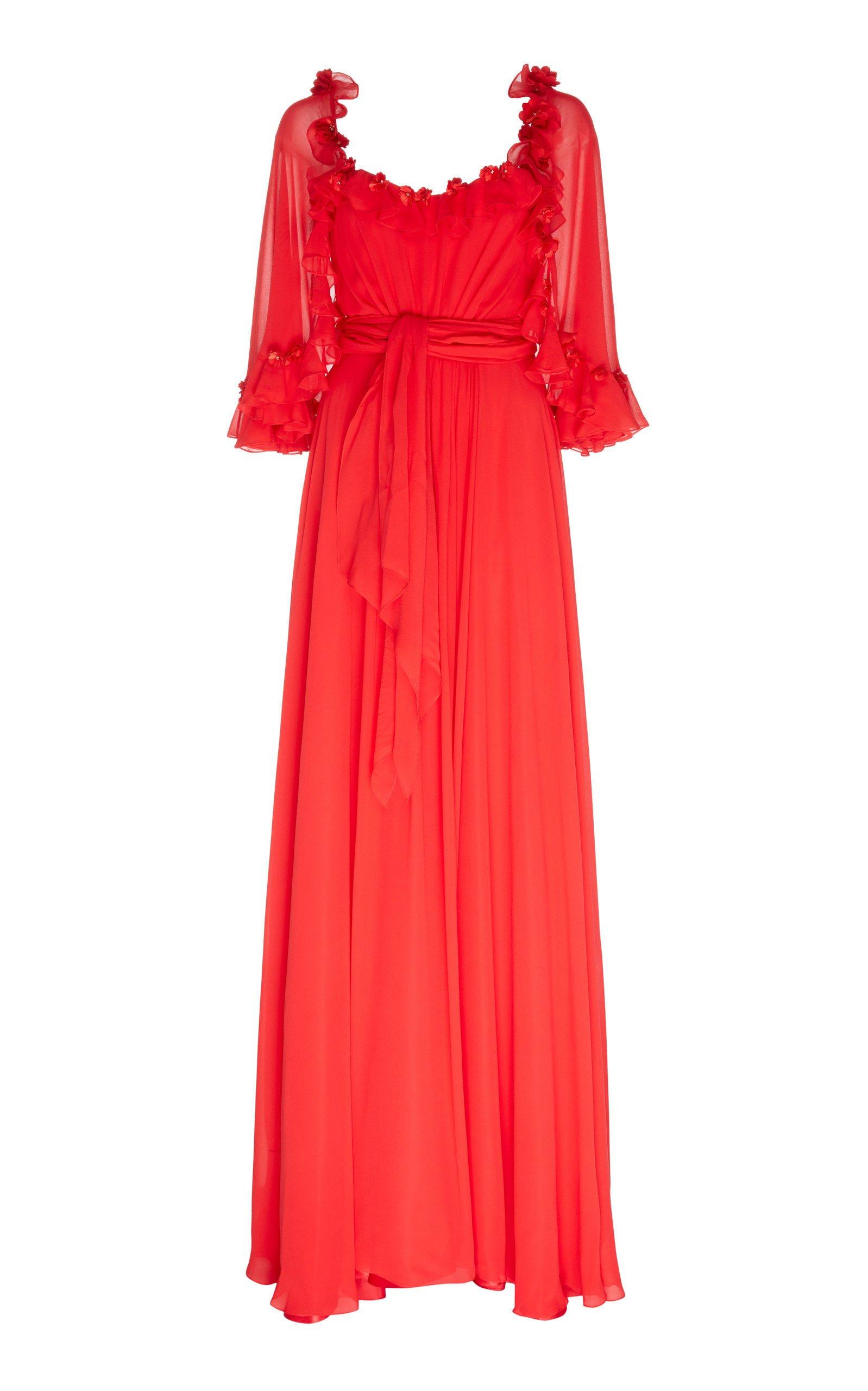 Jenny Packham Adelina Ruffled Chiffon Gown