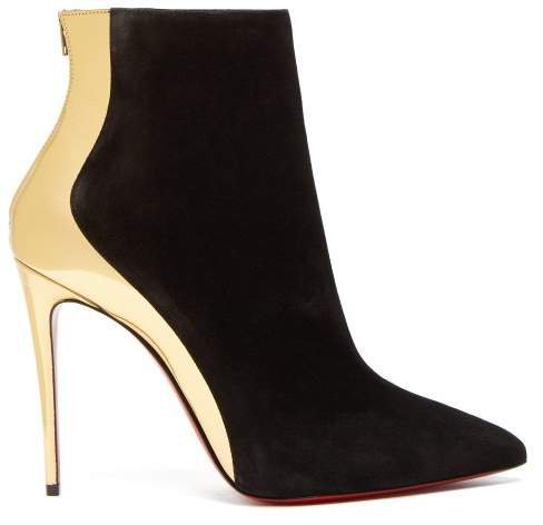 Delicotte 100 Suede And Leather Ankle Boots - Womens - Black Gold