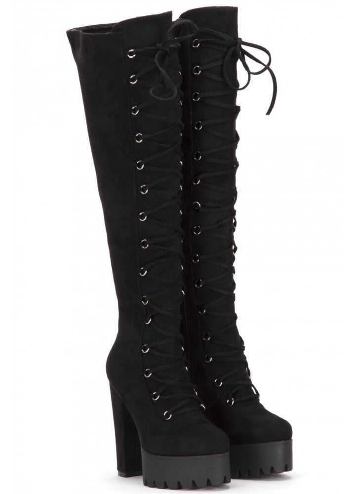 ATTITUDE CLOTHING // Corset Lace-Up Over The Knee Boot