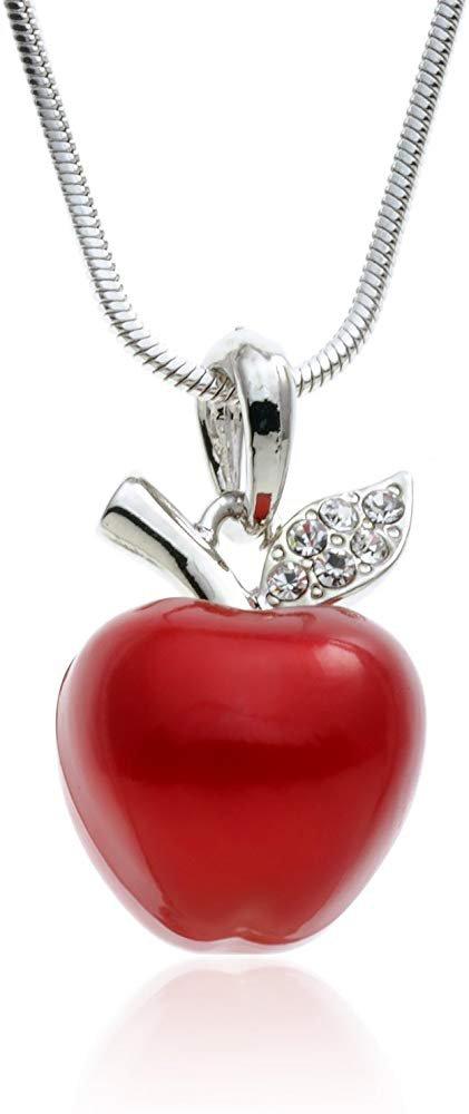 "Amazon.com: PammyJ Candy Red Apple Silvertone Pendant Necklace, 18"": Jewelry"