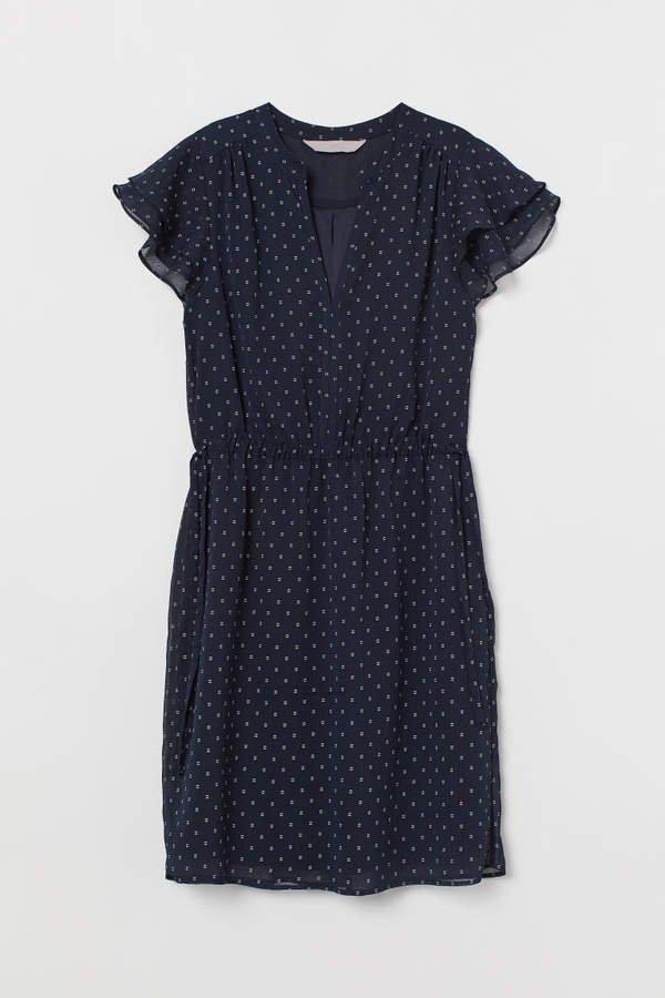 V-neck Dress - Blue