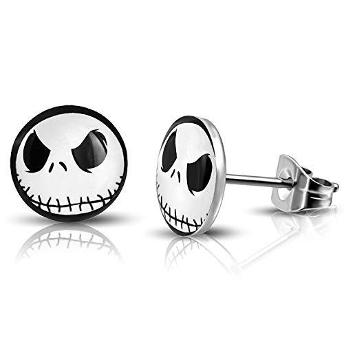 Amazon.com: 10 MM Stainless Steel Jack Skellington Round Circle Button Stud Post Earrings: Jewelry