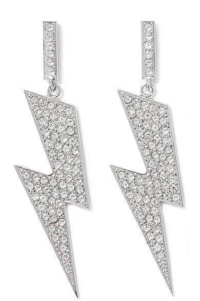 Isabel Marant | Flash silver-tone crystal earrings | NET-A-PORTER.COM