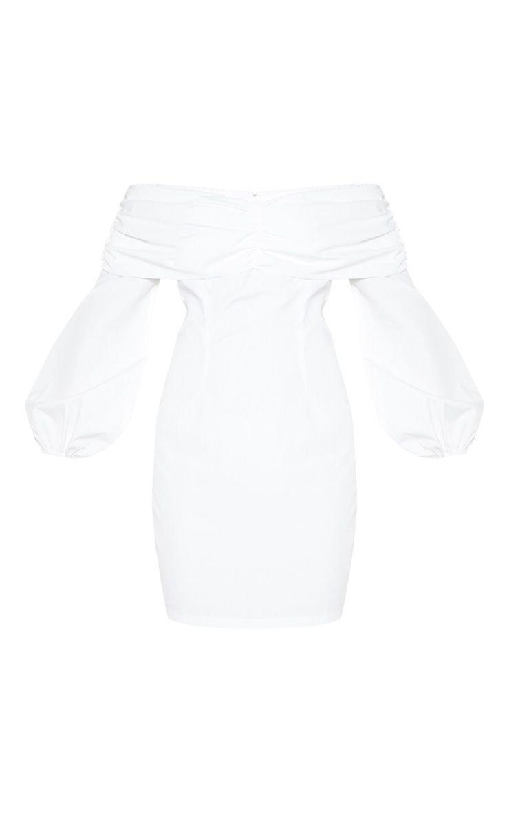White Puff Sleeve Ruched Bardot Bodycon Dress   PrettyLittleThing USA