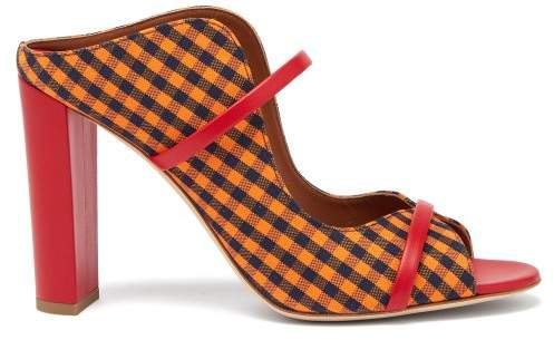 Nora Gingham Canvas And Leather Sandals - Womens - Orange Multi