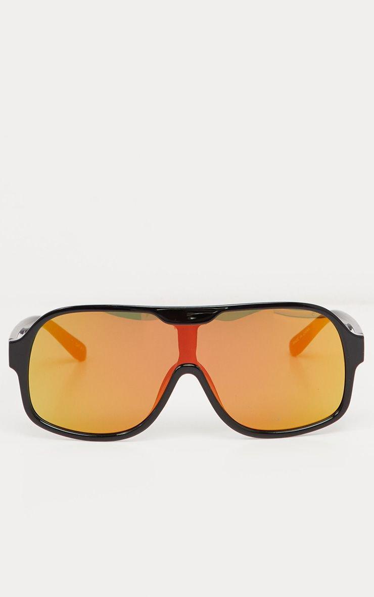 Black Frame Yellow Lens Retro Round Sunglasses   PrettyLittleThing USA