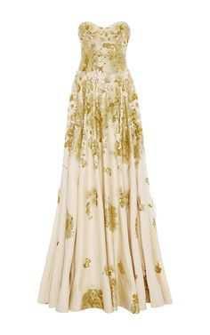 Naeem Khan Women's Metallic Special Strapless Satin Ball Gown