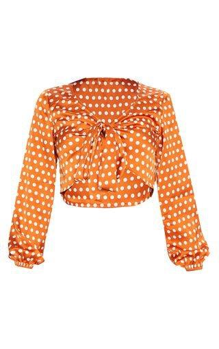 Burnt Orange Satin Polka Dot Tie Front Blouse   PrettyLittleThing USA