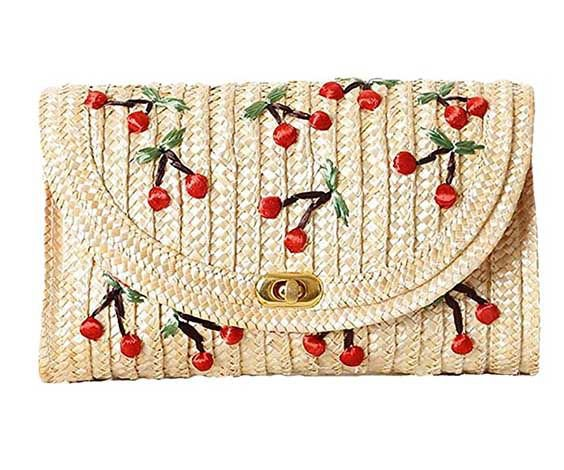 Collectif Cherry Straw Shoulder Bag